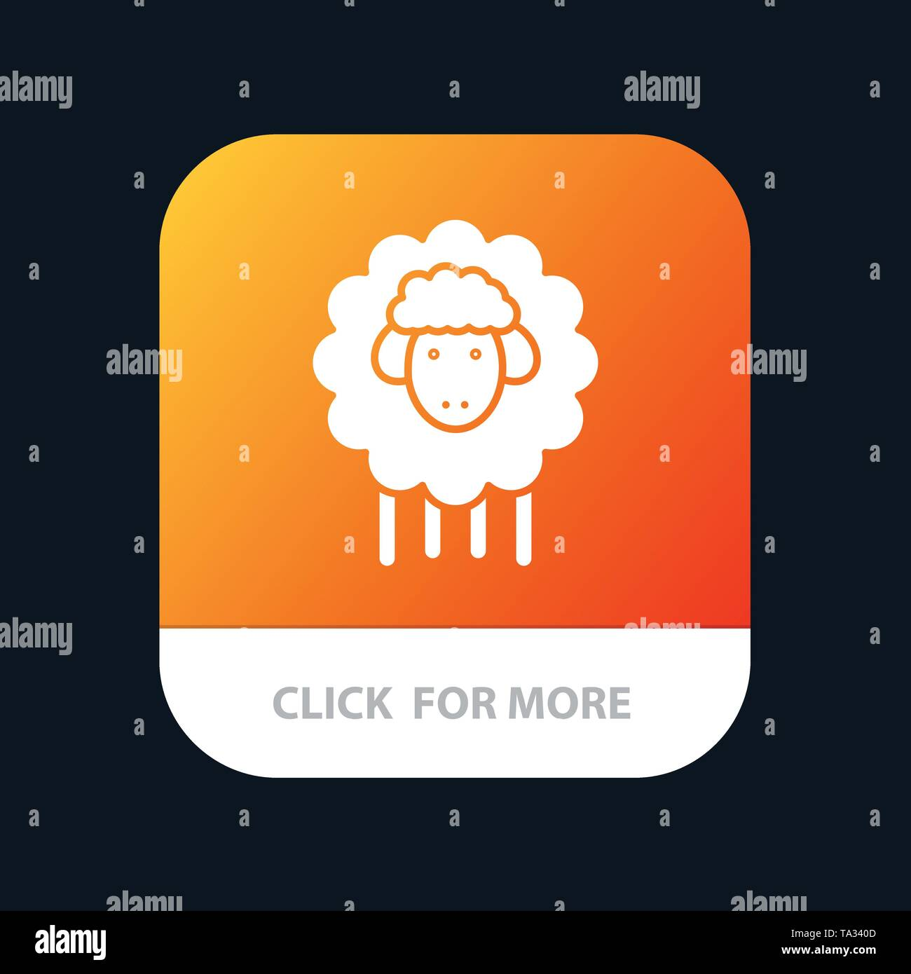 Easter, Lamb, Sheep, Spring Mobile App Button. Android and IOS Glyph Version - Stock Image