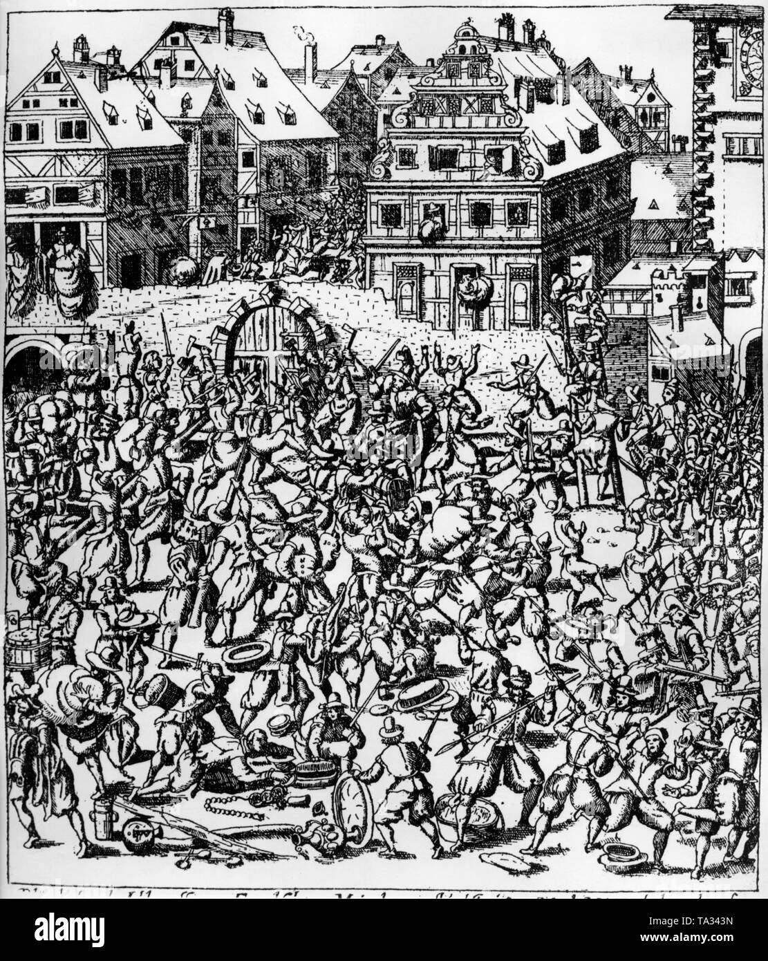 This copper engraving by Georg Keller shows the plundering of the Judengasse (Jews' Lane)  in Frankfurt. The engraving is located in the Kupferstichkabinett in Munich. - Stock Image