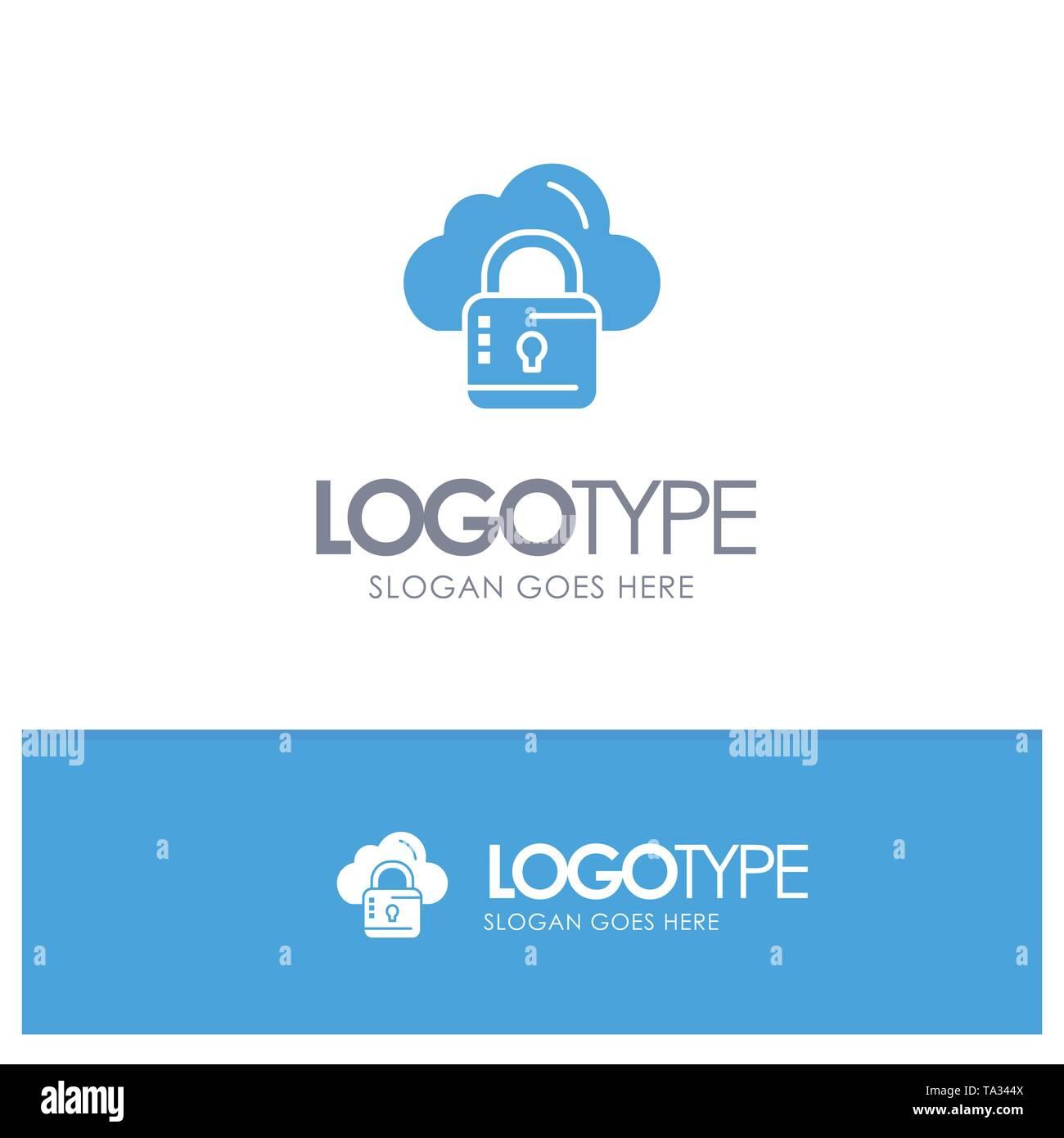 Cloud, Network, Lock, Locked Blue Logo vector - Stock Image