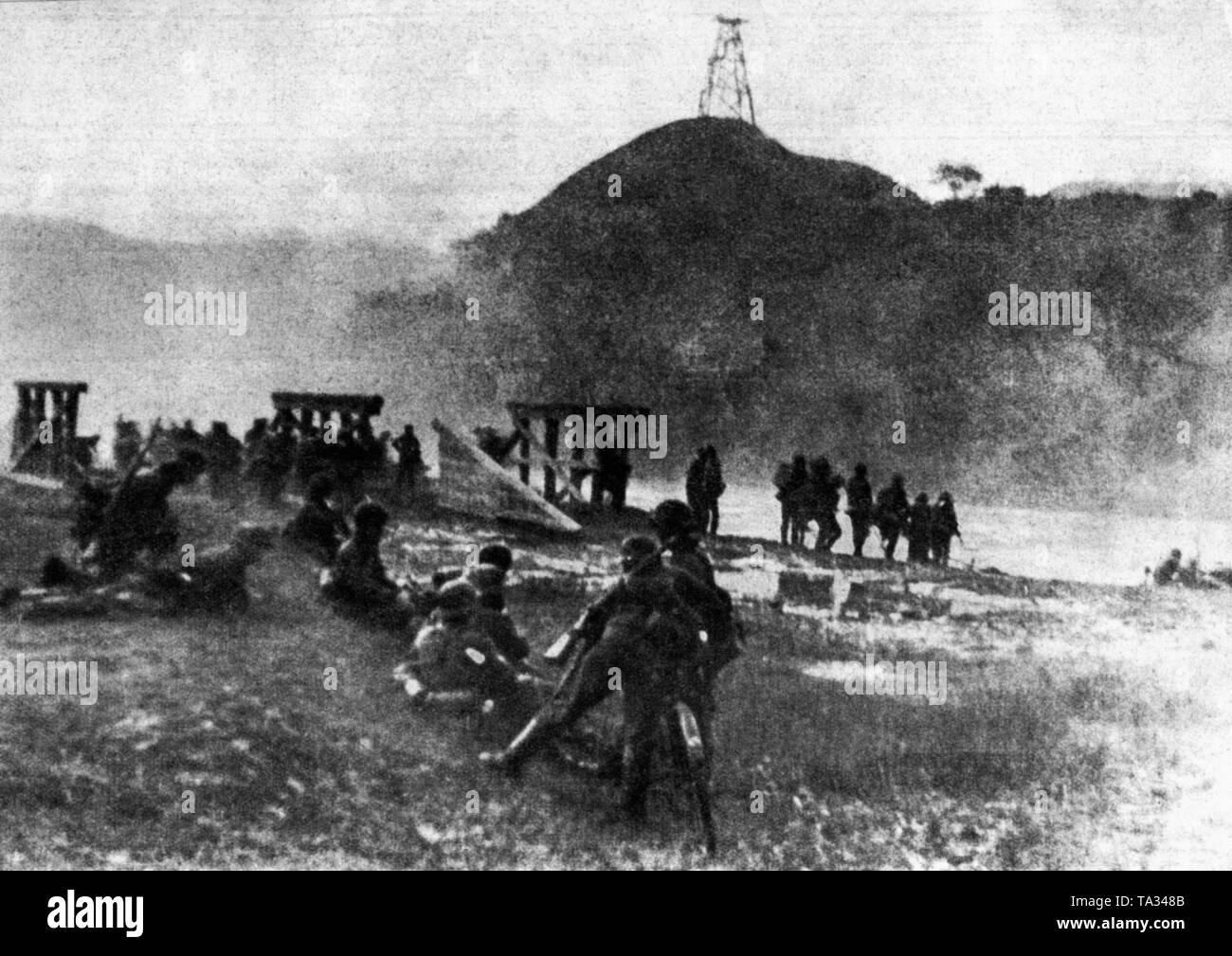 On the morning of 22nd06.1941, German pioneers are preparing to cross a border river. Stock Photo