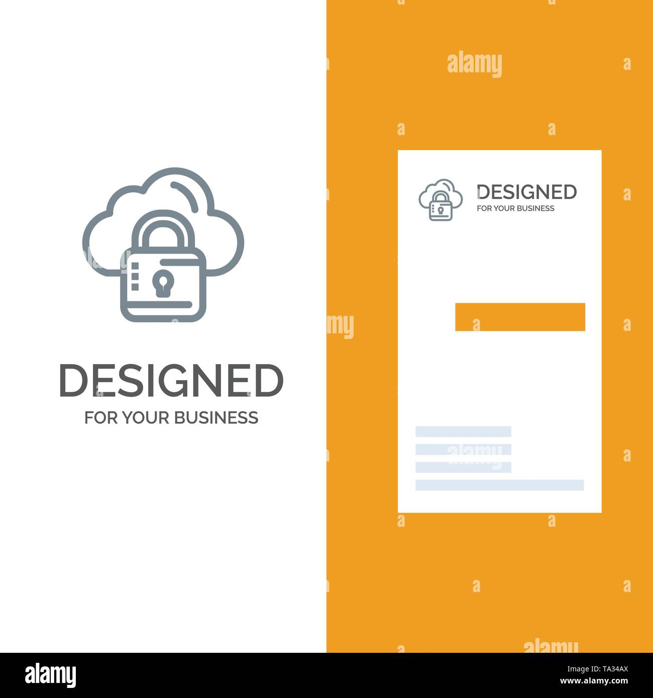 Cloud, Network, Lock, Locked Grey Logo Design and Business Card Template - Stock Image