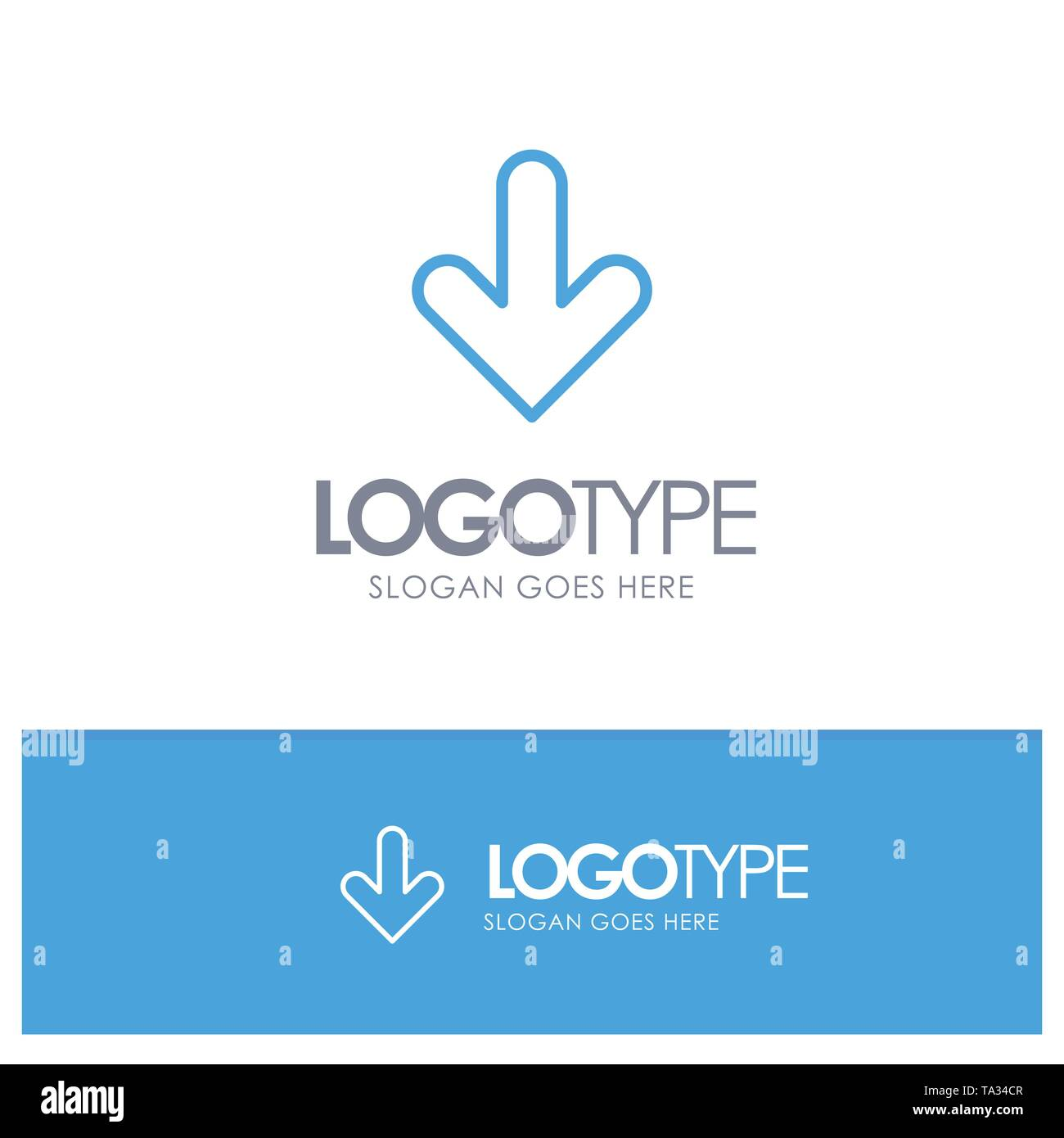 Arrow, Down, Direction, Download Blue Outline Logo Place for Tagline - Stock Image