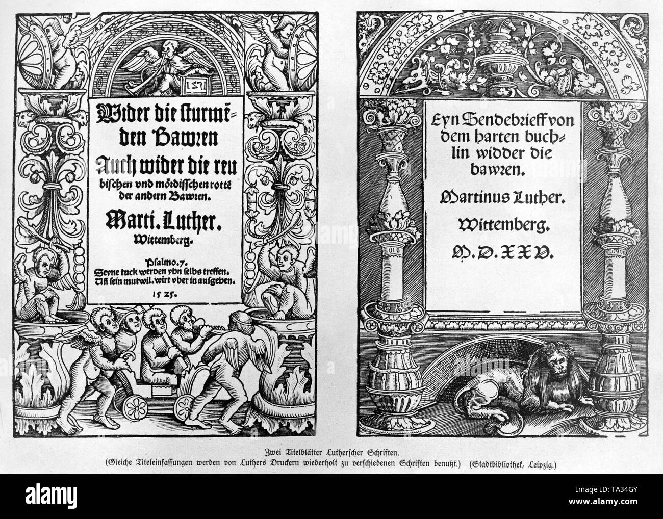 """Front pages of Luther's writings 'Against the Storming Peasants' ( 'Wider die stuermenden Bauern'), 1525, left and """"An Open Letter on the Harsh Book Against the Peasants"""" (''Ein Sendebrief von dem harten Buechlein wieder die Bauern') where Luther distanced himself from the German Peasants' War, which was decisively justified by the principles of the Reformation. - Stock Image"""