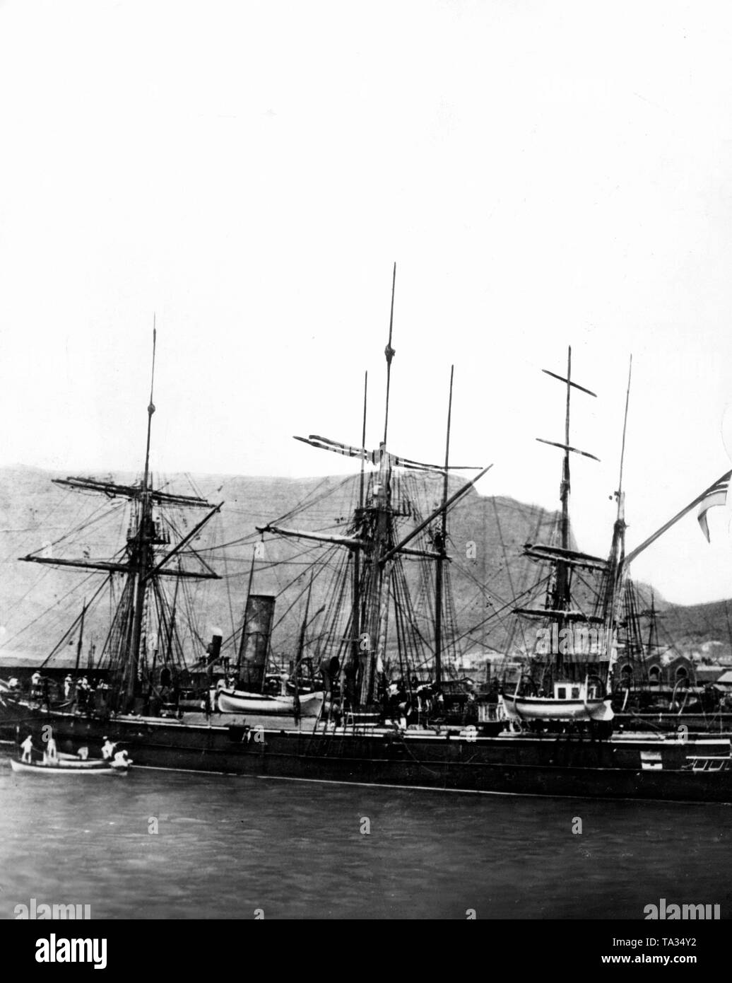 The famous gunboat 'Moeve', with which Nachtigal traveled to West Africa in 1884 to raise the German flag in Togo, Cameroon and the southwest on behalf of the Reich government. Possibly in Cape Town. - Stock Image