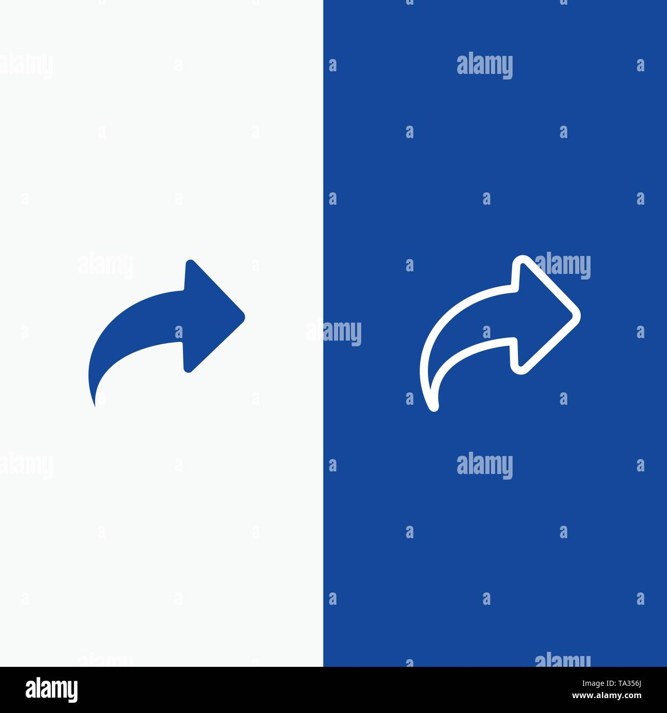 Arrow, Direction, Right, Forward Line and Glyph Solid icon Blue banner Line and Glyph Solid icon Blue banner - Stock Image