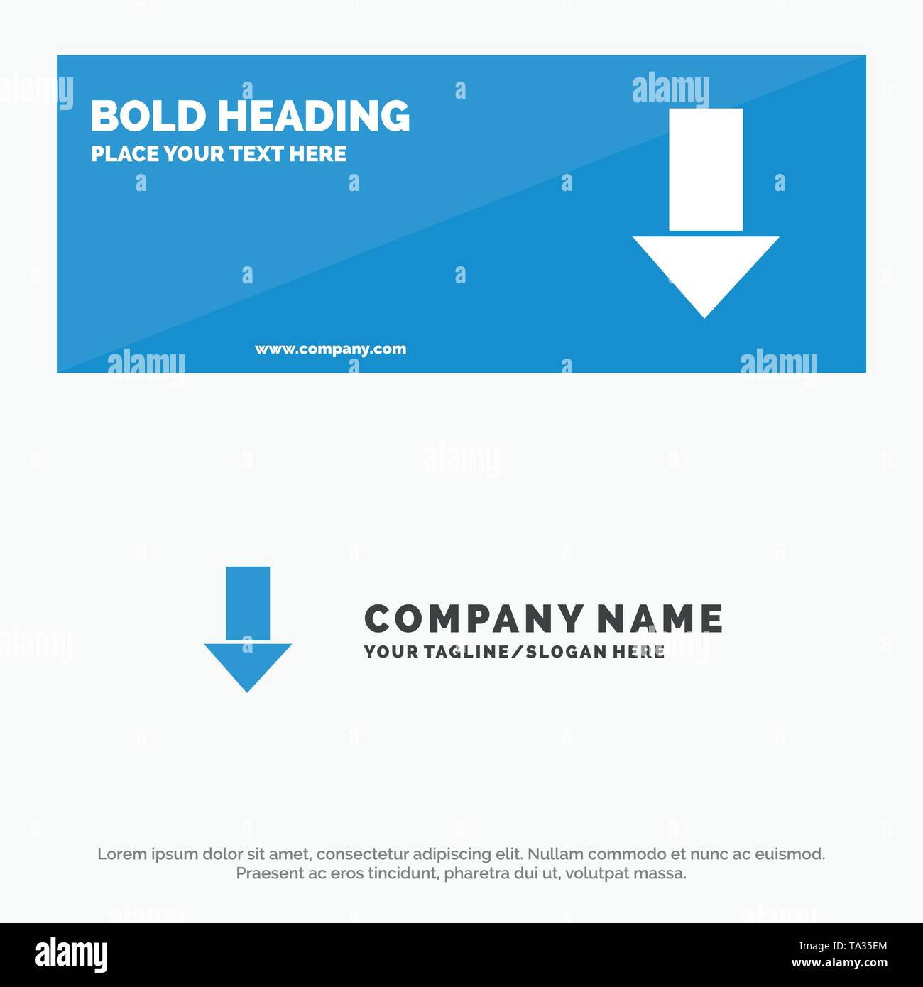 Arrow, Down, Down Arrow, Direction SOlid Icon Website Banner and Business Logo Template - Stock Image