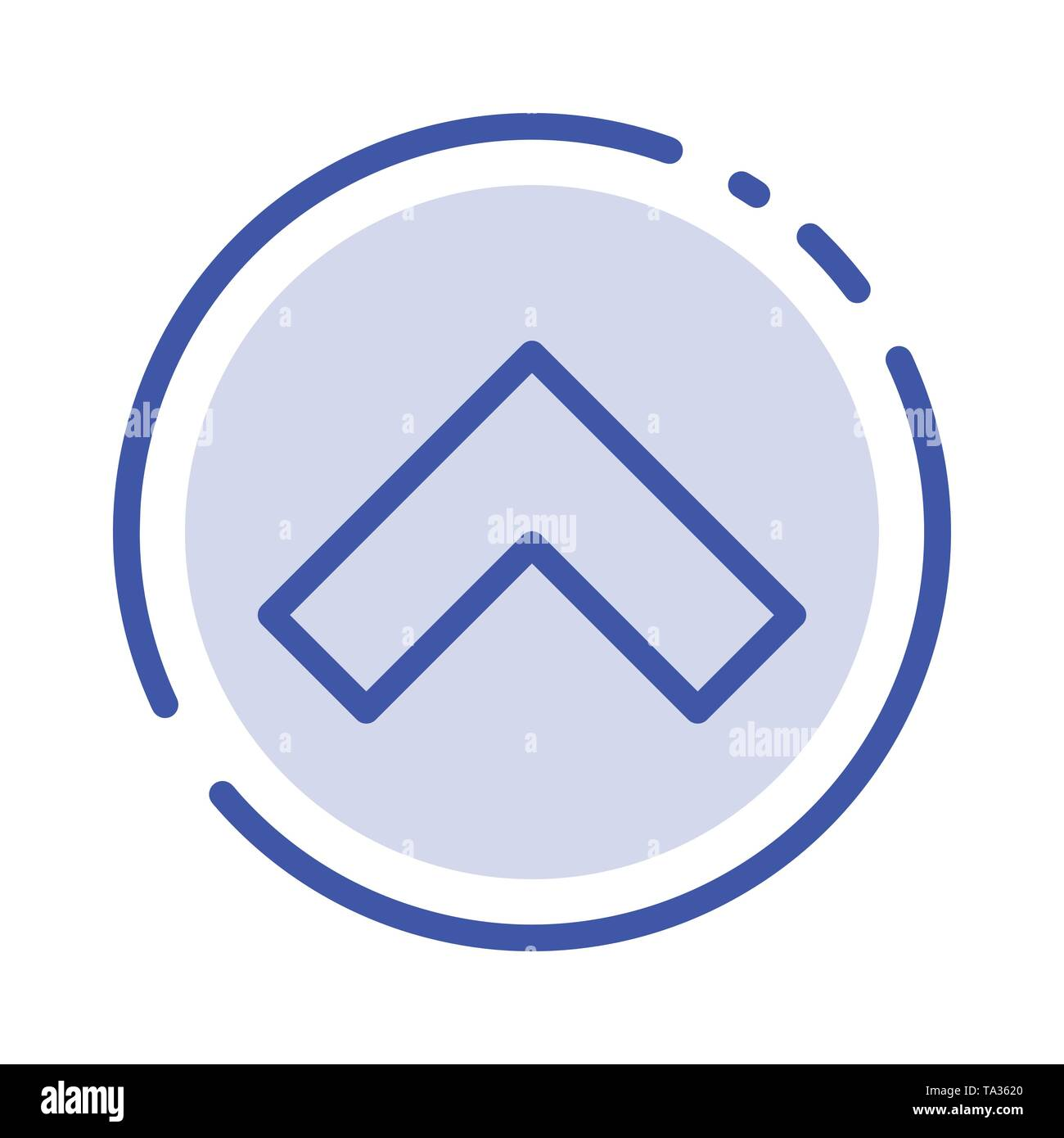 Arrow, Up, Forward Blue Dotted Line Line Icon - Stock Image