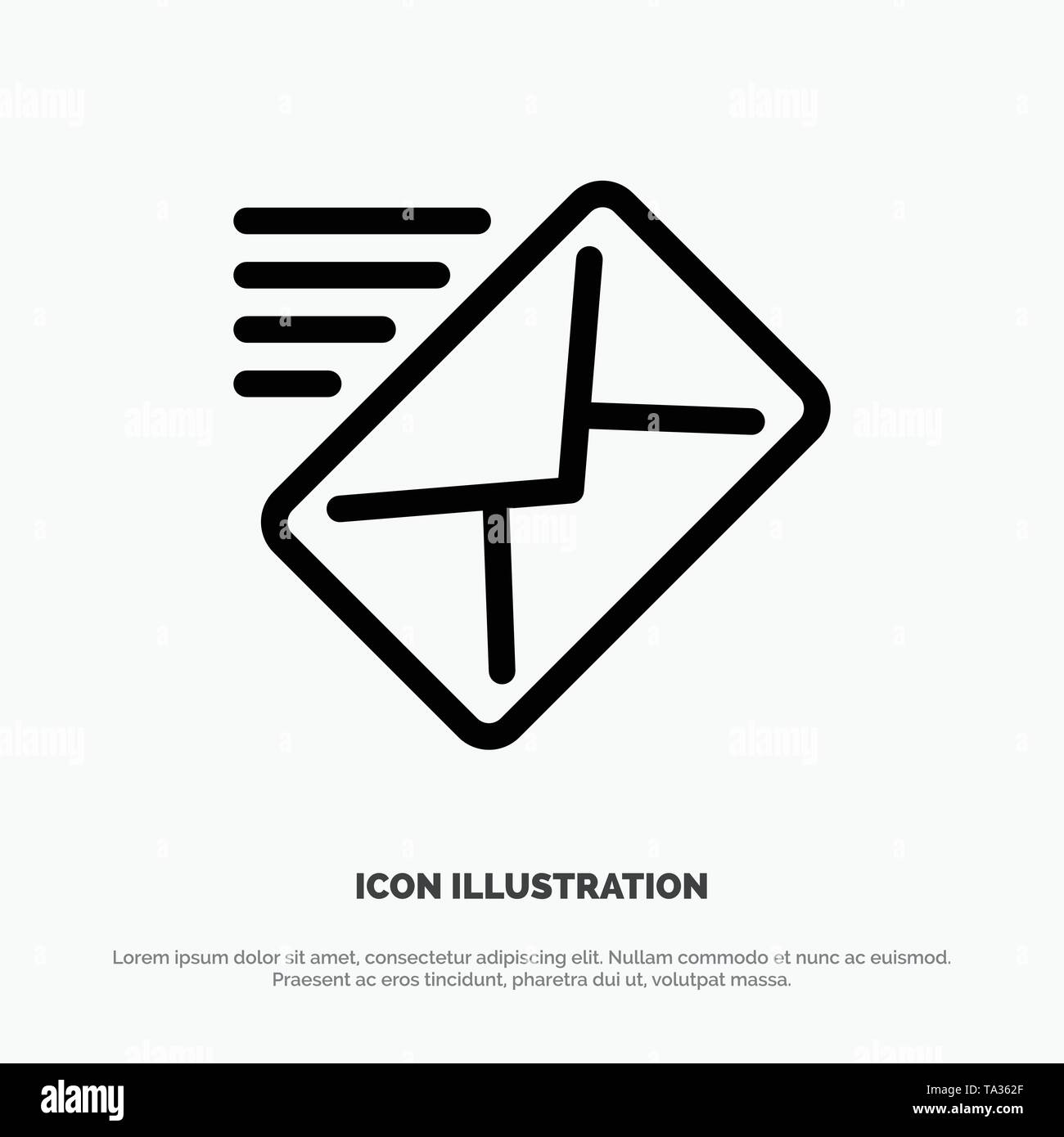 Email, Mail, Message, Sent Line Icon Vector - Stock Image