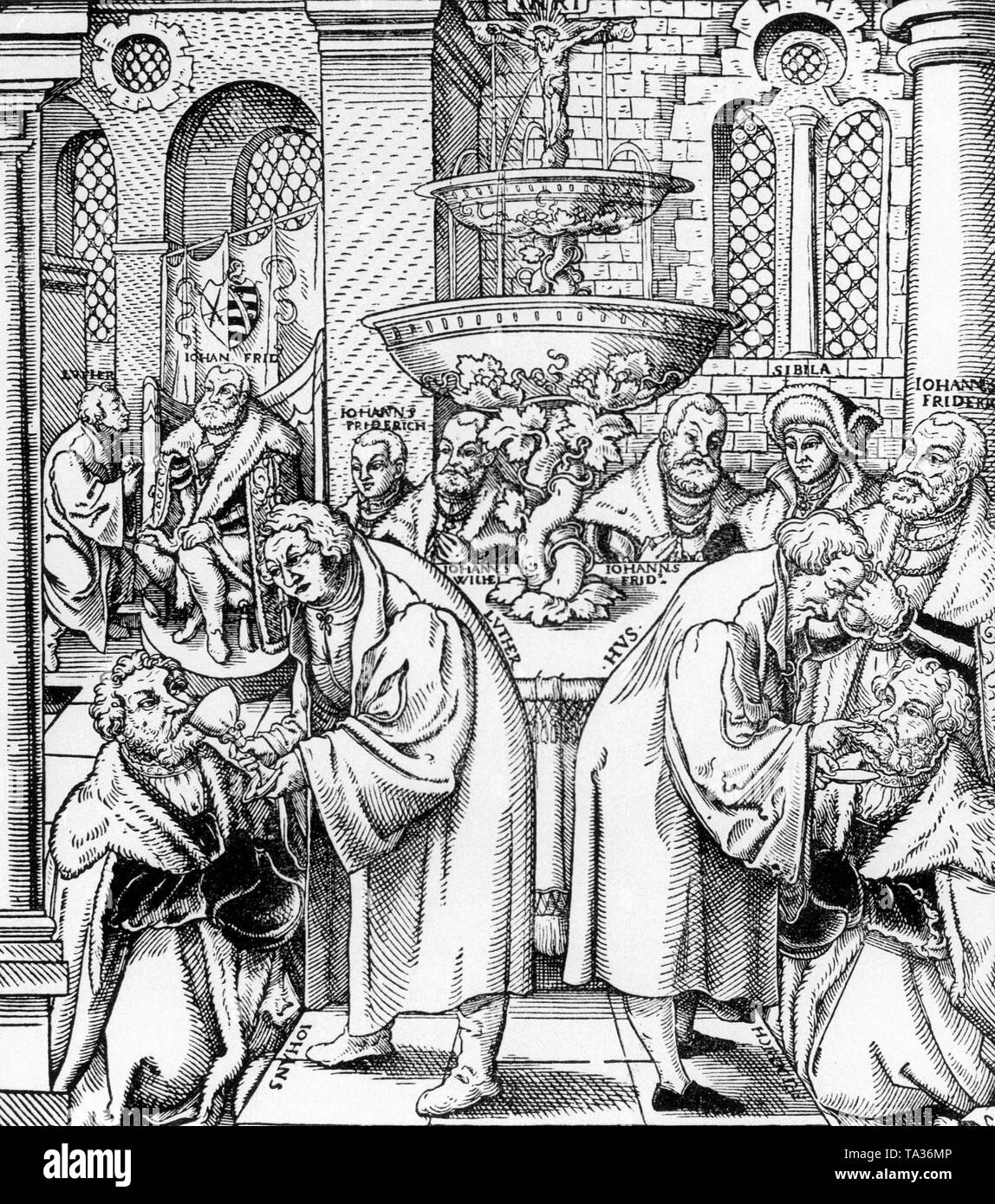 Jan Hus (1370-1415), right, along with Martin Luther distribute Holy Communion in a representation by an unknown artist from the 16th century - Stock Image