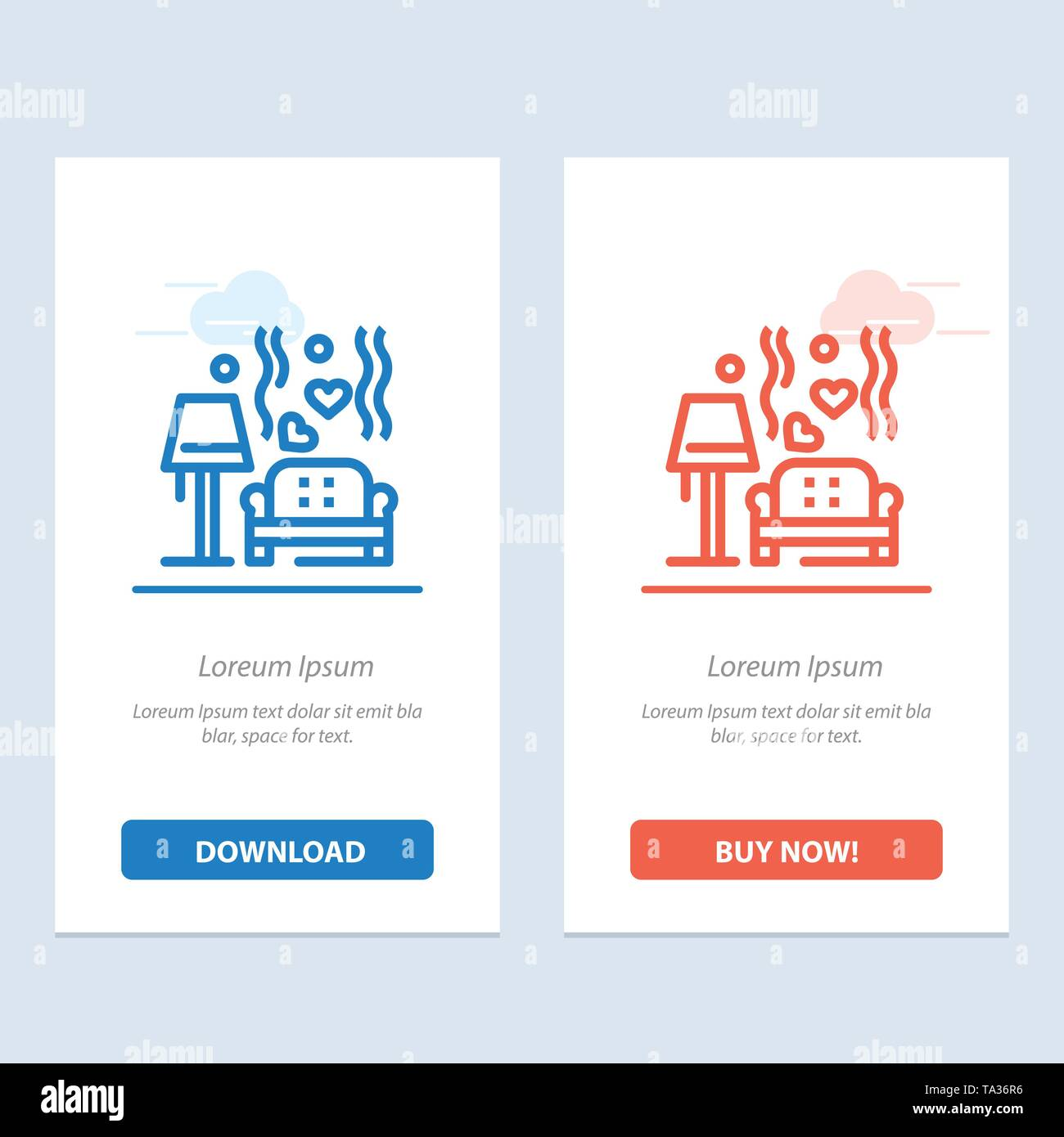 Lump, Sofa, Love, Heart, Wedding  Blue and Red Download and Buy Now web Widget Card Template - Stock Image