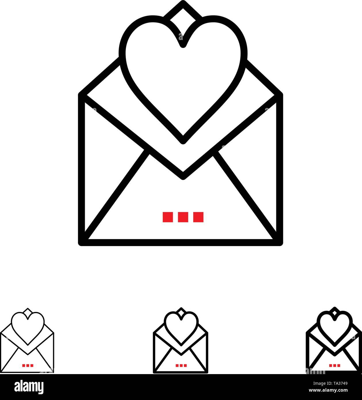 Letter, Mail, Card, Love Letter, Love Bold and thin black line icon set - Stock Image