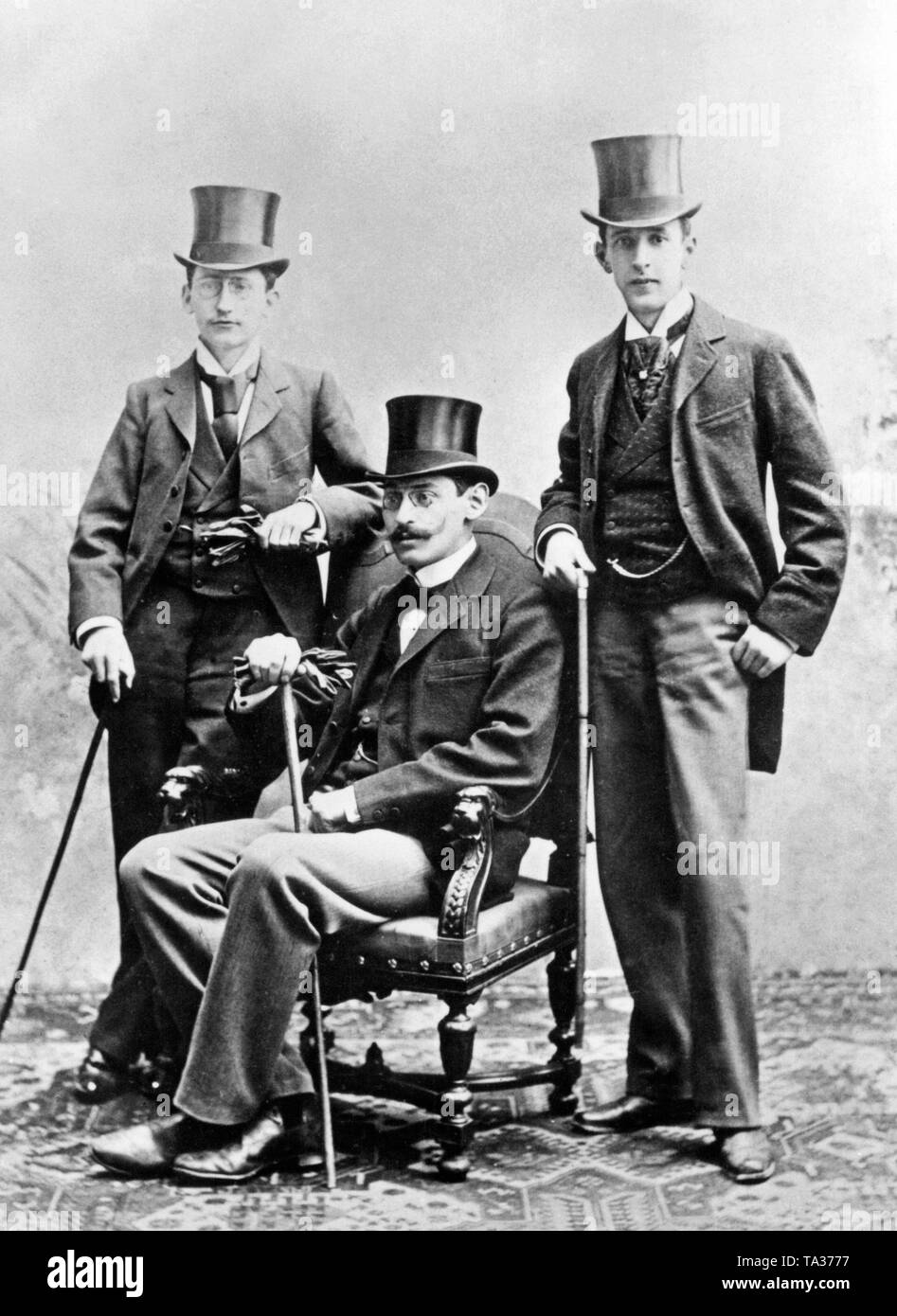 A group photo of the first German filmakers Wolff, Hecht and Hessberg. Undated photo, probably the 1900s. - Stock Image