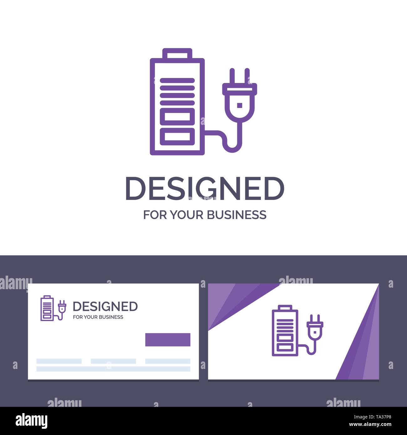 Creative Business Card and Logo template Accumulator, Battery, Power, Plug Vector Illustration - Stock Image