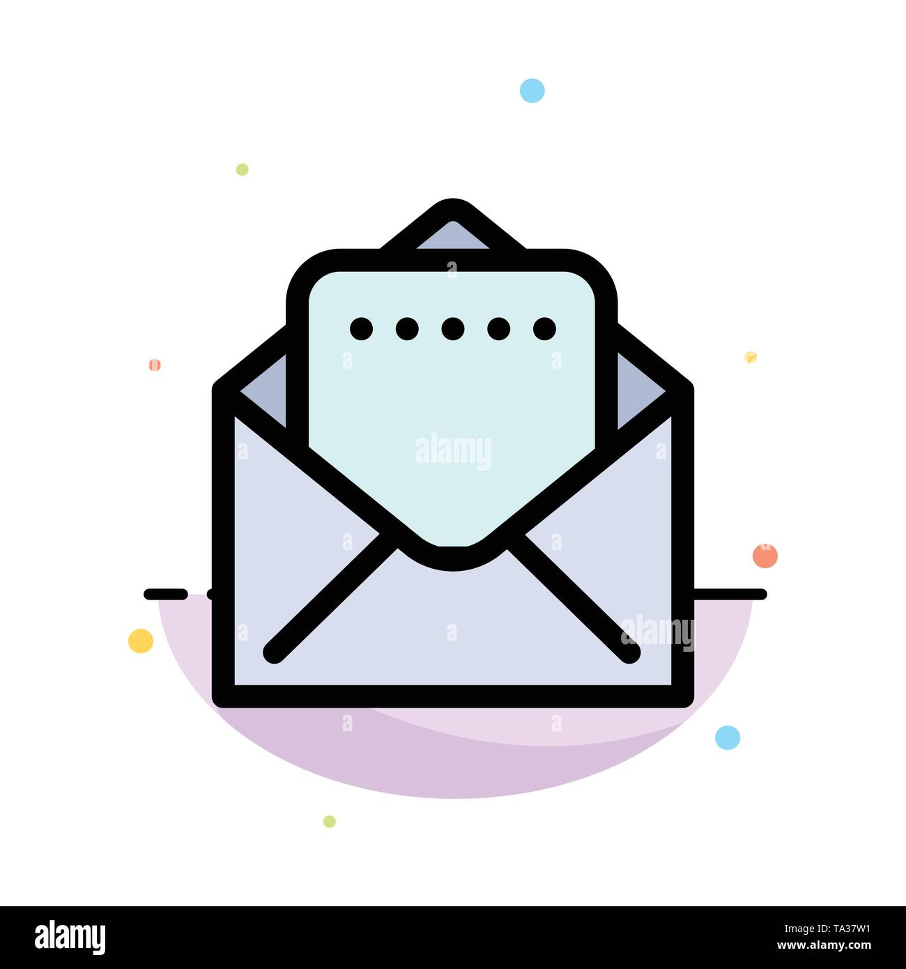 Document, Mail Abstract Flat Color Icon Template - Stock Image