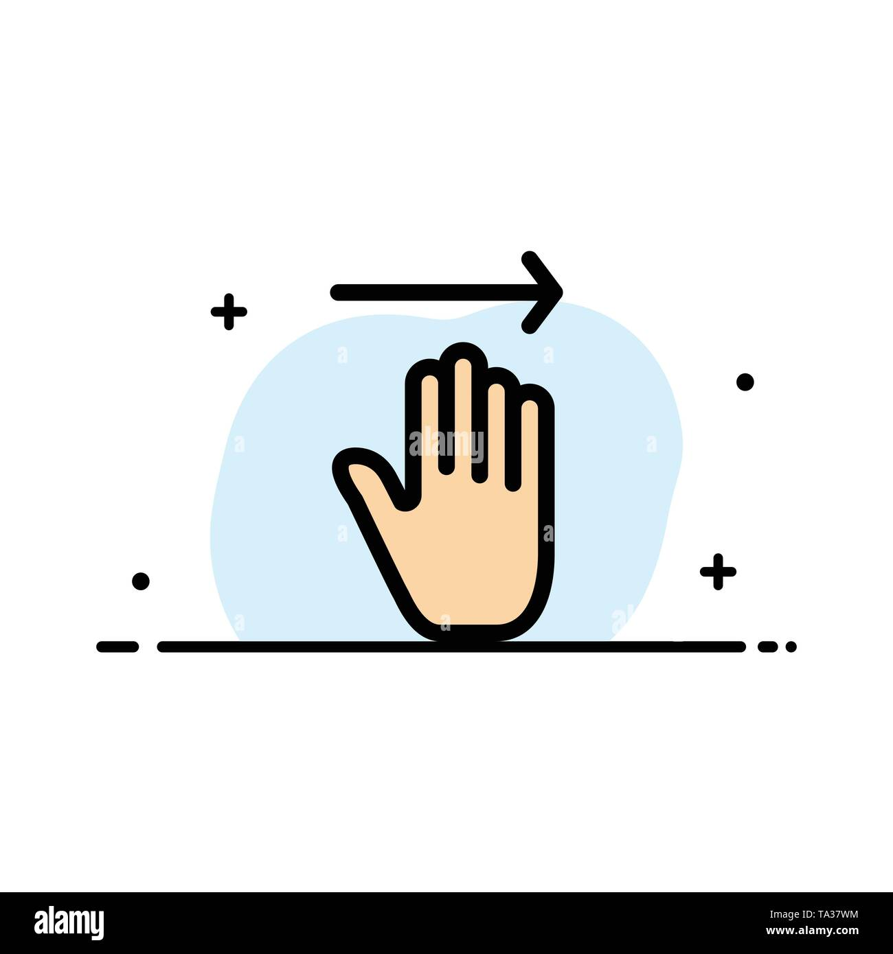 Hand, Arrow, Gestures, right  Business Flat Line Filled Icon Vector Banner Template - Stock Image