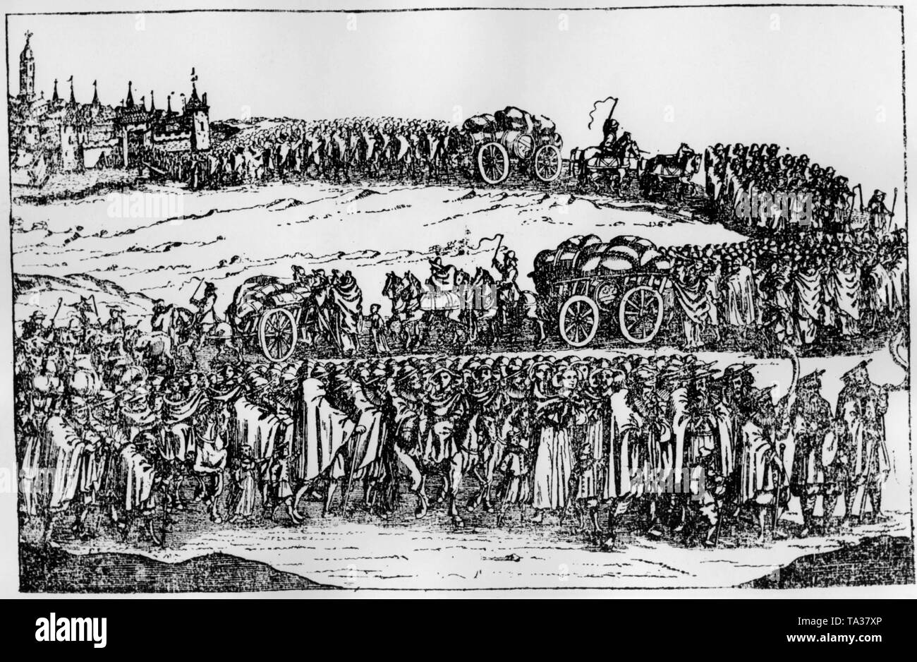 Expulsion of the Jews from Vienna. The expulsion was ordered and executed by Emperor Leopold. Already at the end of the 17th century, the Jews settled in Vienna again. Stock Photo