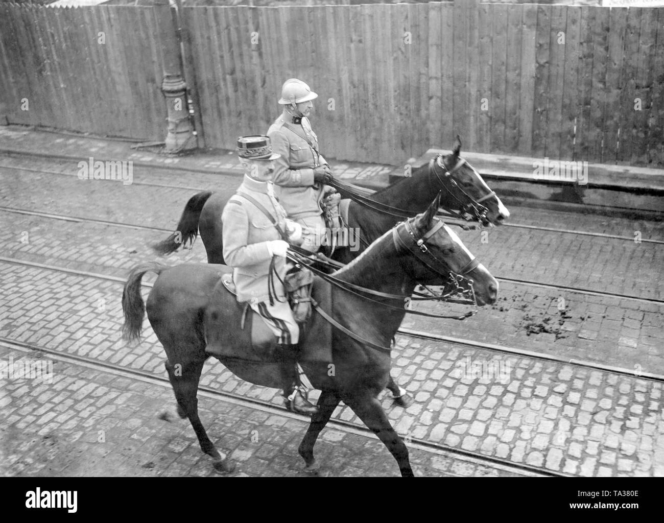 The Allied  occupation was abolished as early as 1925 in the eastern area of ??the Rhine. Here, two soldiers of the French occupation force are leaving Dusseldorf (Undated photo). - Stock Image