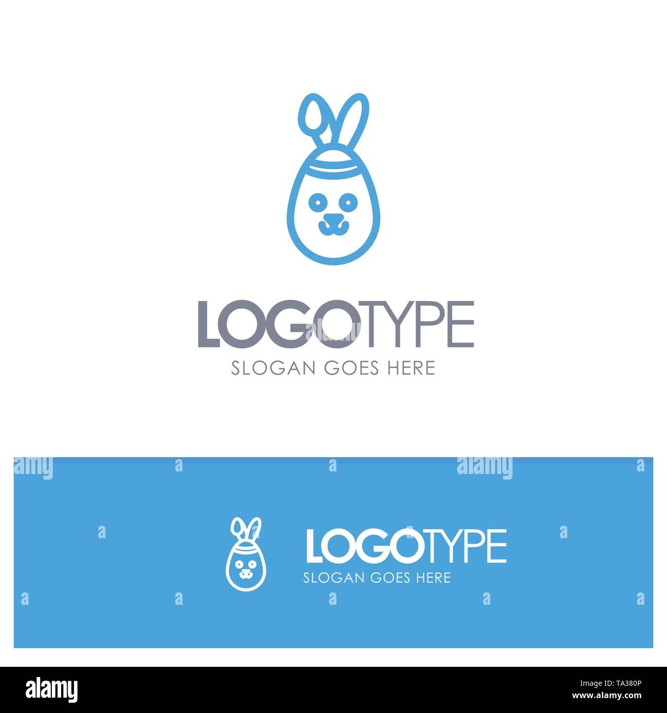 Rabbit, Easter, Bunny Blue Outline Logo Place for Tagline - Stock Image