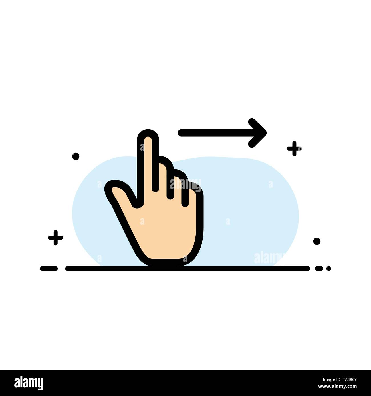 Finger, Gestures, Right, Slide, Swipe  Business Flat Line Filled Icon Vector Banner Template - Stock Image