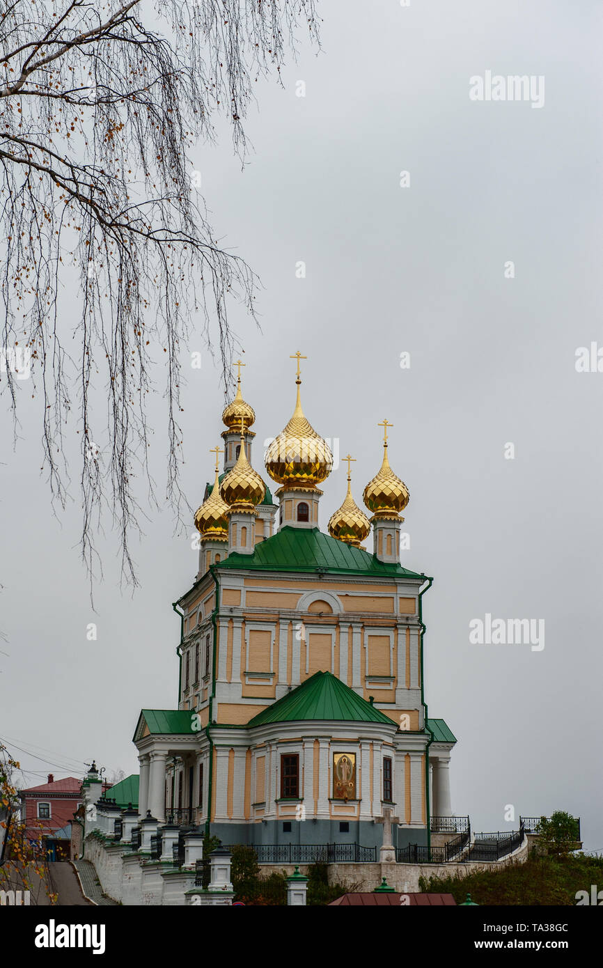 Church of the Resurrection of the city of ples of the old Russian city on the Volga in late autumn. The city is associated with the great Russian arti - Stock Image