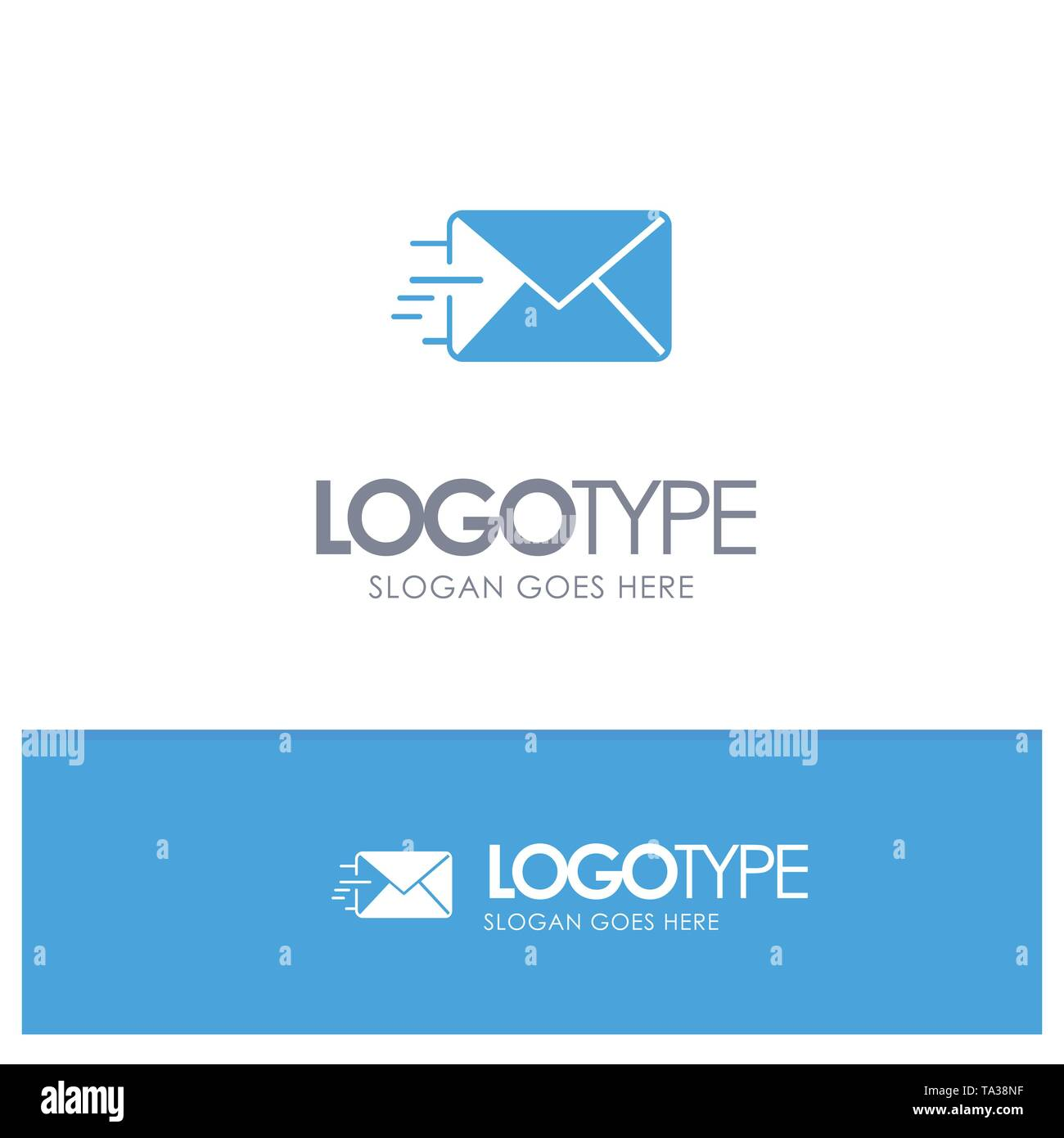 Email, Mail, Message Blue Solid Logo with place for tagline - Stock Image