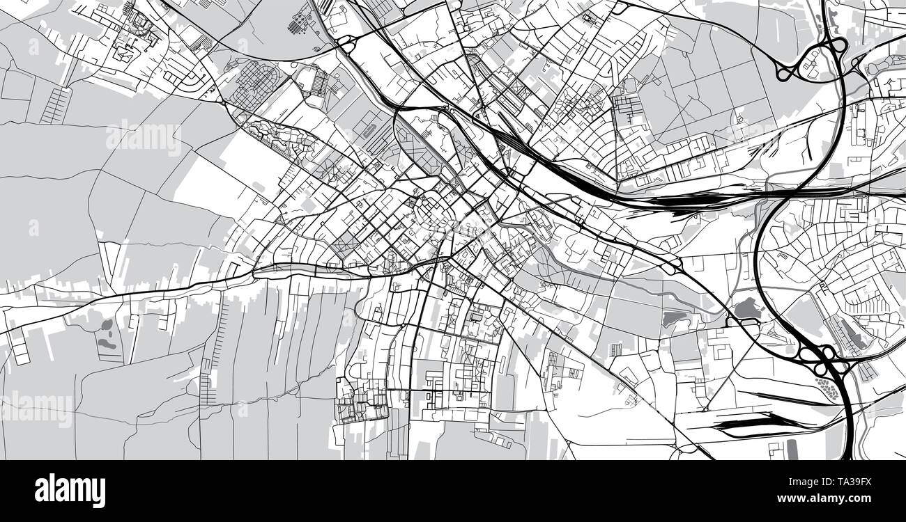 Urban vector city map of Gliwice, Poland - Stock Image