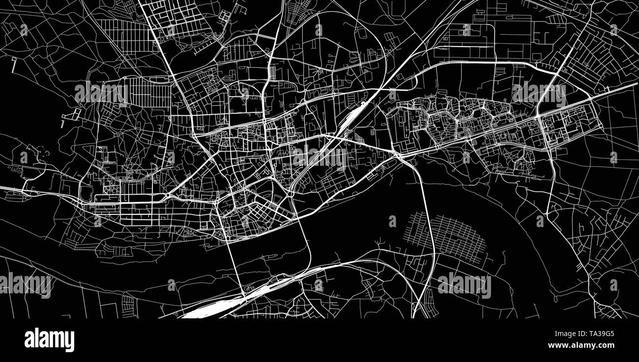 Urban vector city map of Torun, Poland - Stock Image
