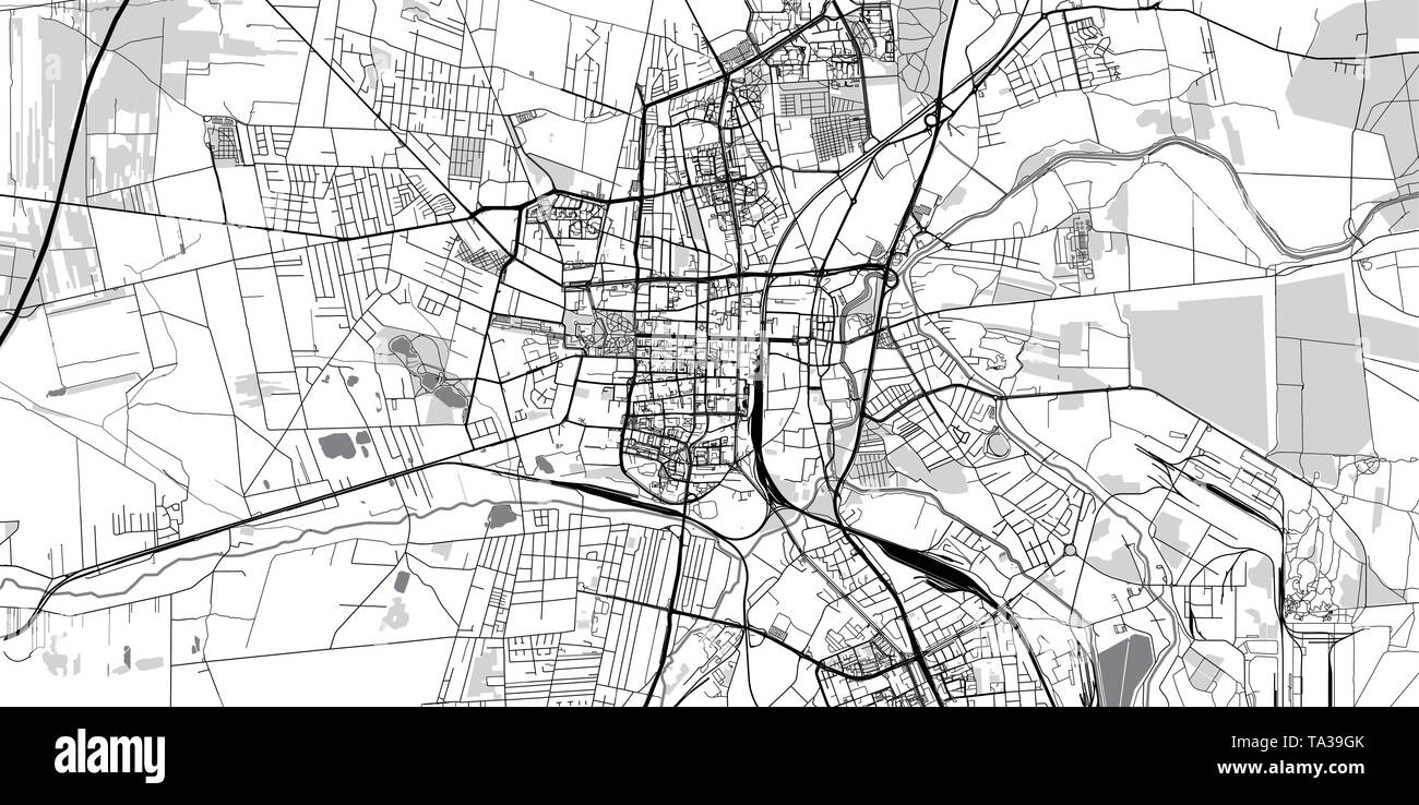 Urban vector city map of Czestochowa, Poland - Stock Image