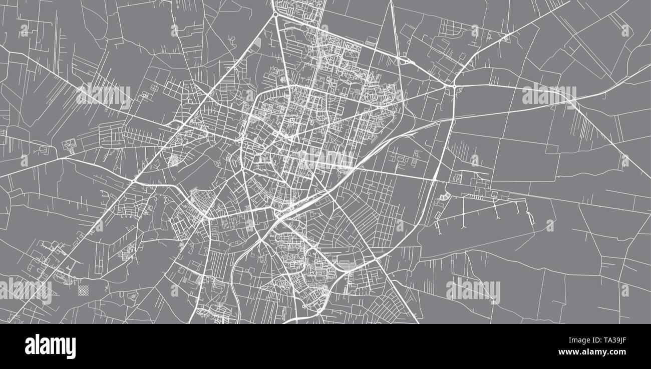 Urban vector city map of Radom, Poland - Stock Image