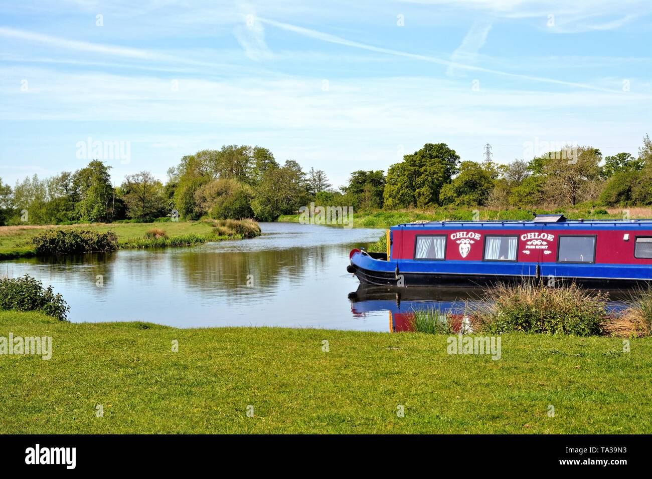 The River Wey Navigation near Ripley with a narrow boat cruising by on a sunny summers day, Surrey England UK - Stock Image