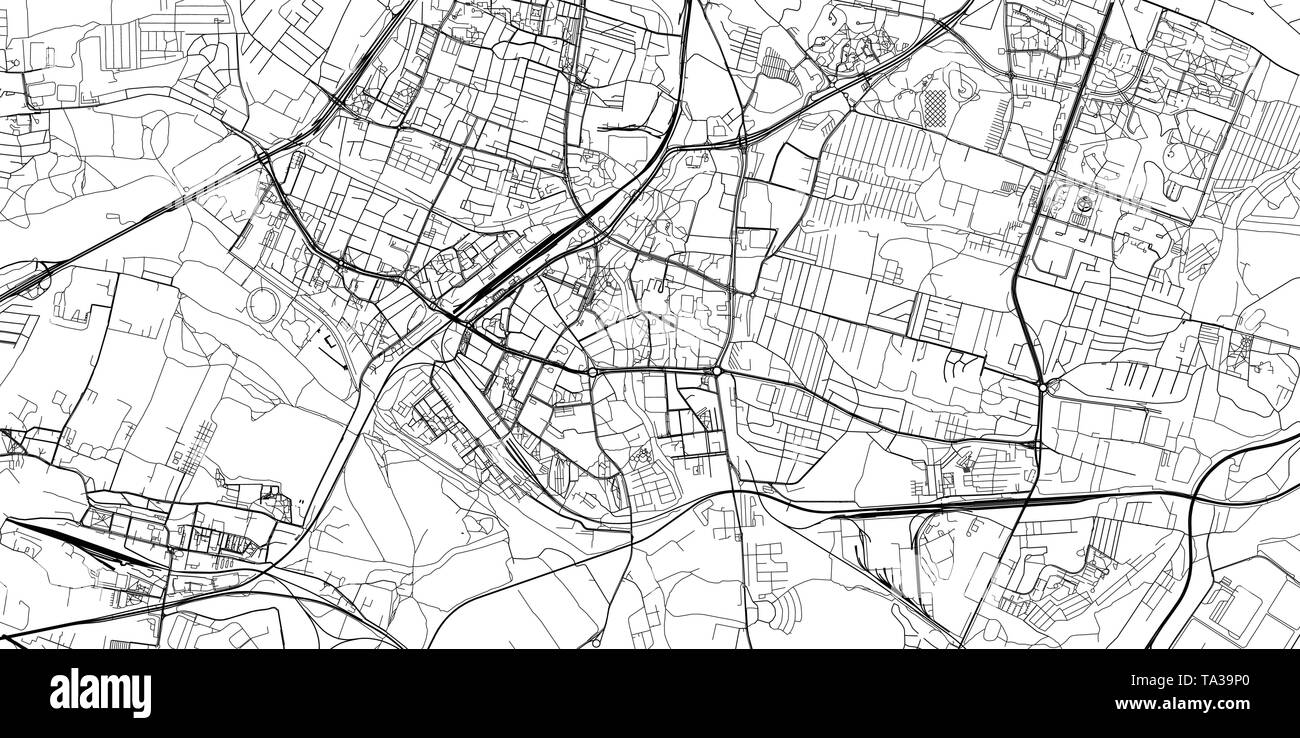 Urban vector city map of Sosnowiec, Poland - Stock Image