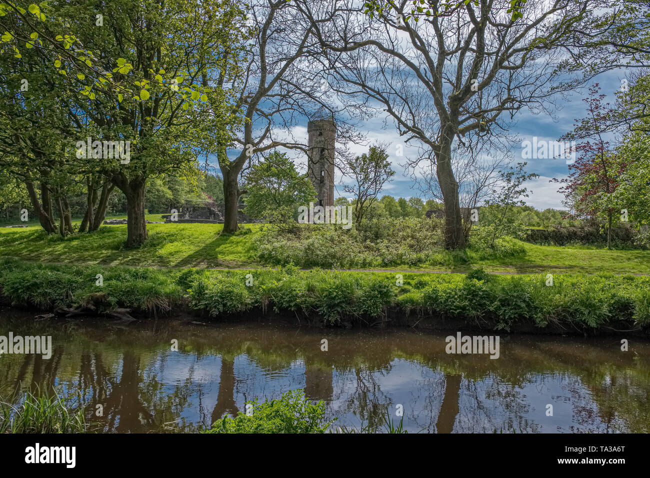 Scottish Country Park at the start of summer as the trees are a lush green colour and a gentle flowing burn or river with reflections and ancient ruin - Stock Image