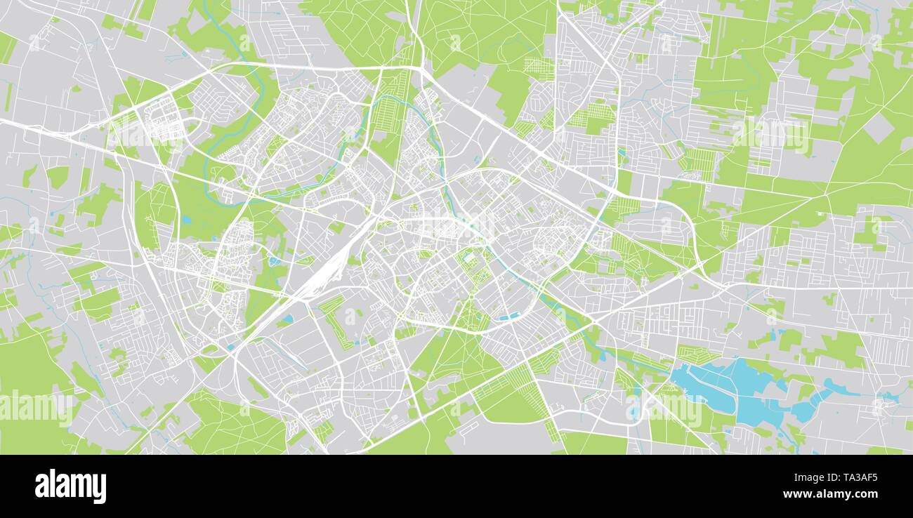 Urban vector city map of Bialystok, Poland - Stock Image