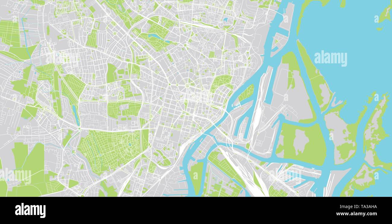 Urban vector city map of Szczecin, Poland - Stock Image