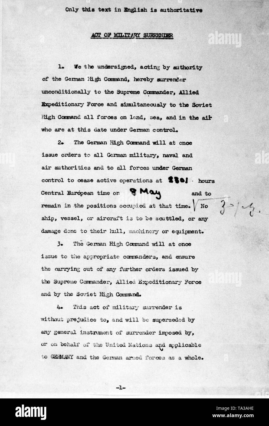 Second page of the document of surrender of the Wehrmacht in Reims, which was signed at the headquarters of General Eisenhower by General Jodl on behalf of the German Wehrmacht. Stock Photo