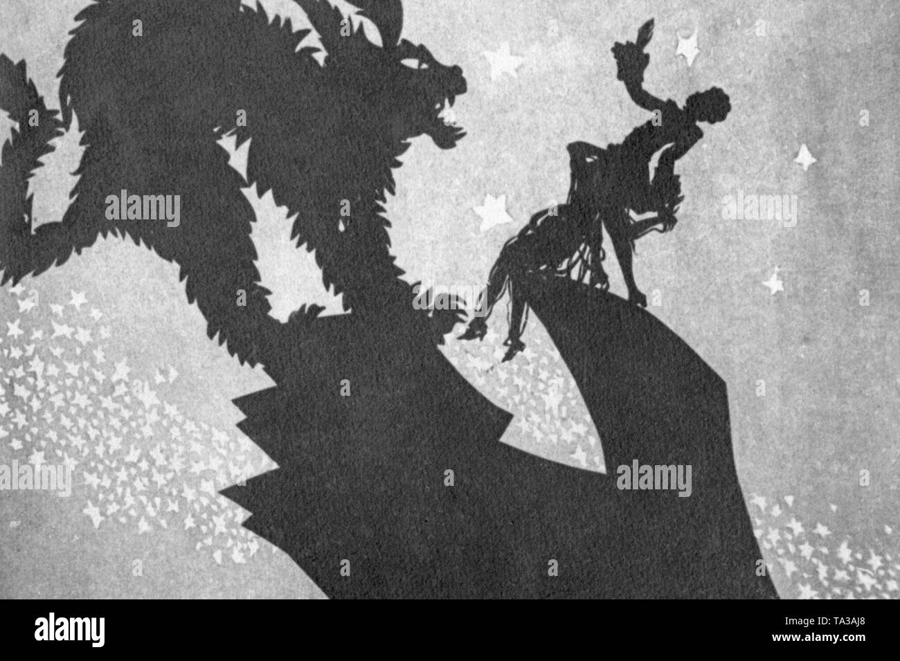 This photo shows a scene from the silhouette film 'Amor und das standhafte Liebespaar' by Charlotte Reiniger. The silhouette film, also known as silhouette animation, is a technique of animated film in which silhouettes are put together on a lighted glass plate in front of a white or black background to form a film. The result is the silhouette film, inspired by shadow theater and the pictorial techniques of silhouette cutting. - Stock Image