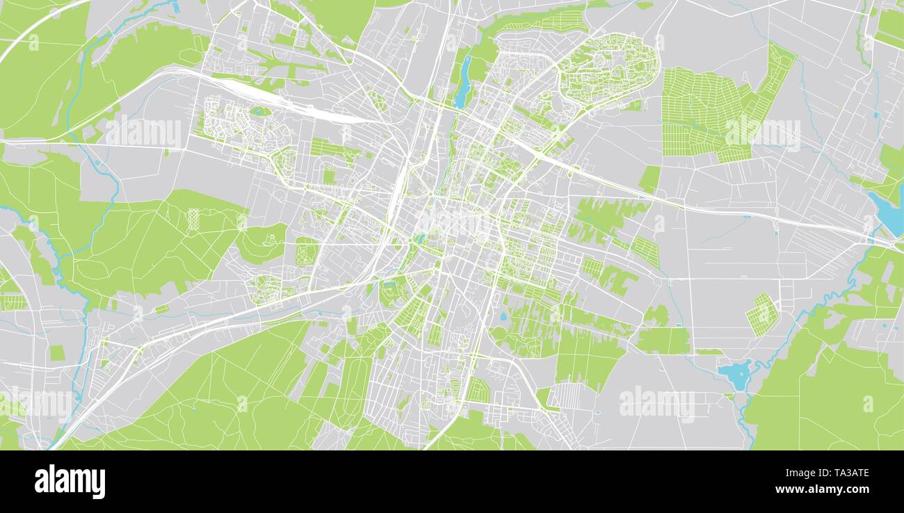 Urban vector city map of Kielce, Poland - Stock Image