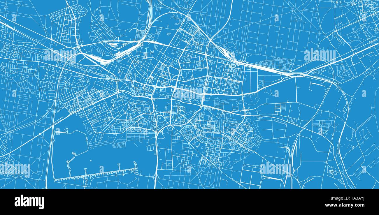 Urban vector city map of Bydgoszcz, Poland - Stock Image