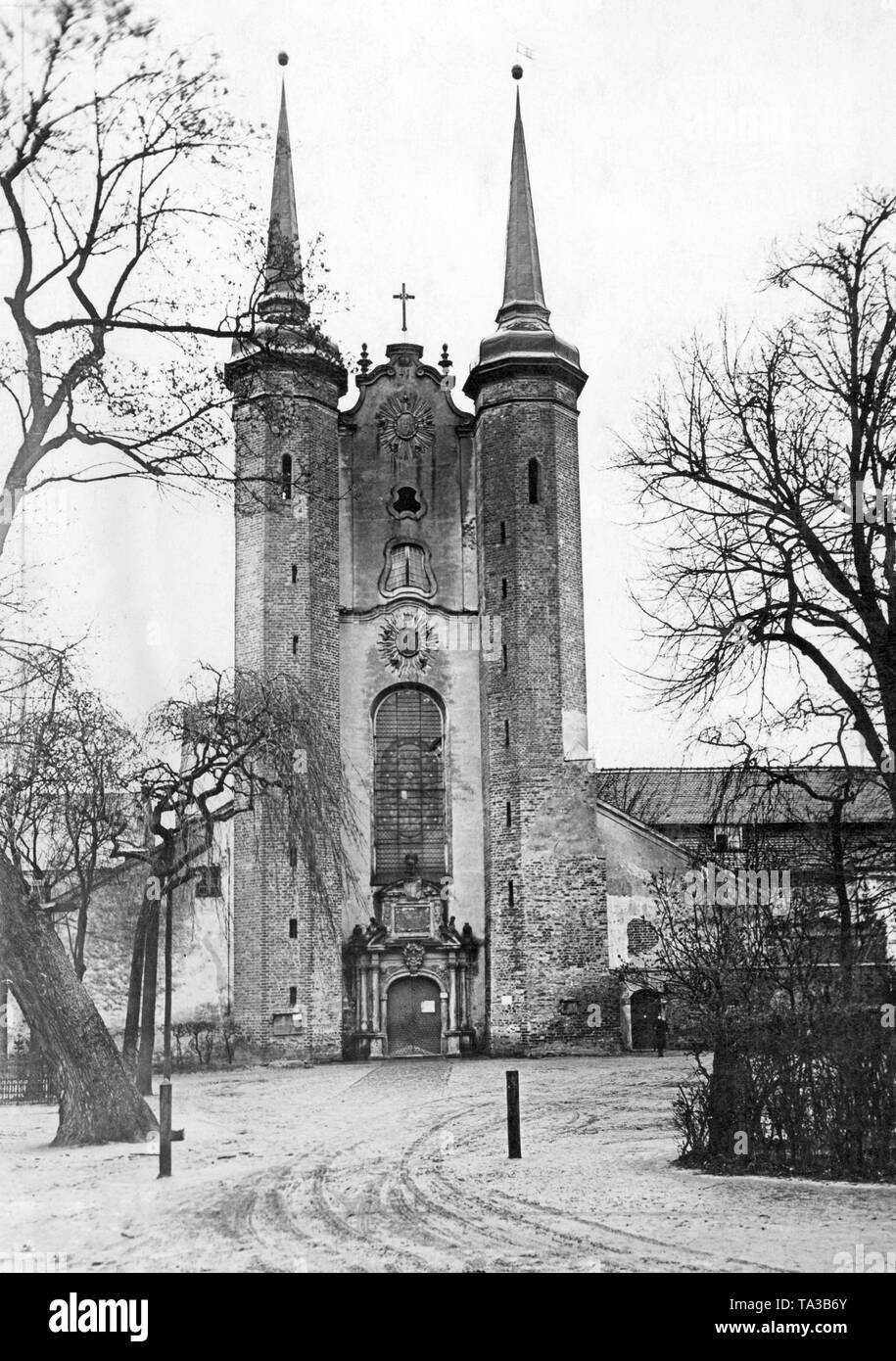 The photo shows the Oliwa Cathedral in Gdansk. It is dedicated to The Holy Trinity, Blessed Virgin Mary and St Bernard. The three-nave basilica was built at the end of the 12th century by the Cistercians and belonged to a monastery. In 1925, with the establishment of a diocese by Pope Paul VI, the church was raised to the dignity of a cathedral. - Stock Image