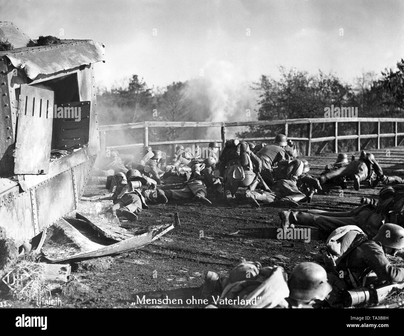 The UFA film 'Men Without a Fatherland' from 1937 is about the Freikorps 'Iron Division', a volunteer unit consisting of Germans and Baltic Germans fighting for the newly founded Baltic states against the Soviet Red Army. Here is the scene of a fight on a bridge. - Stock Image