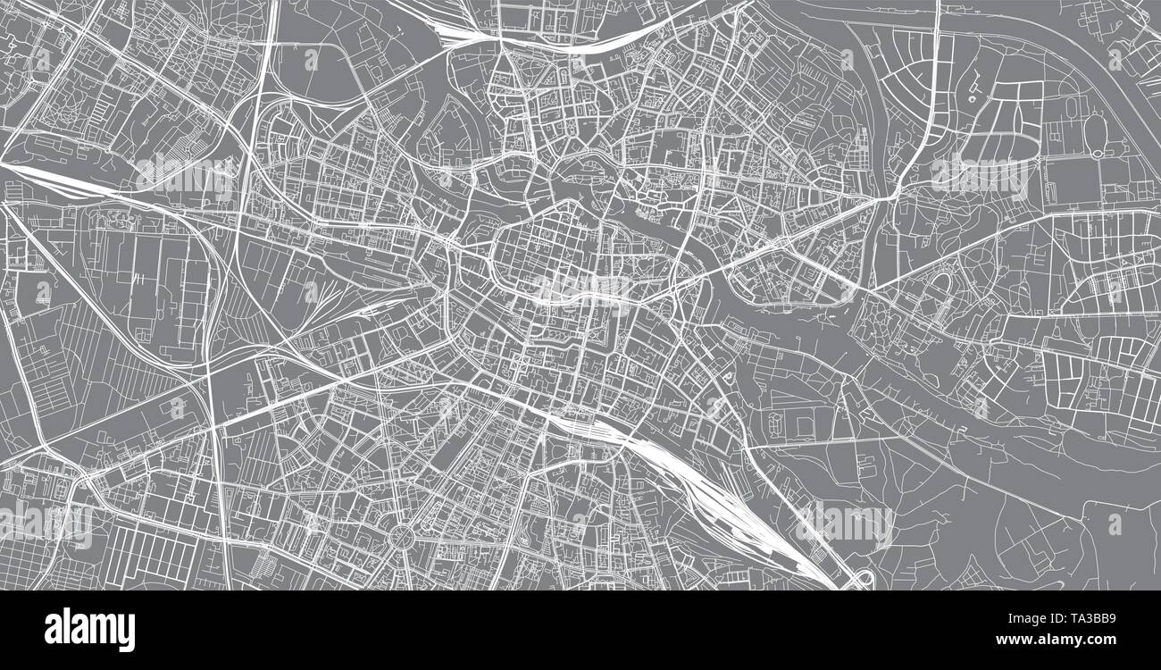 Urban vector city map of Wroclaw, Poland - Stock Image