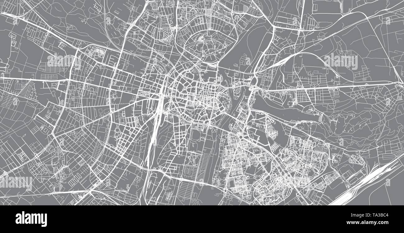 Urban vector city map of Poznan, Poland - Stock Image