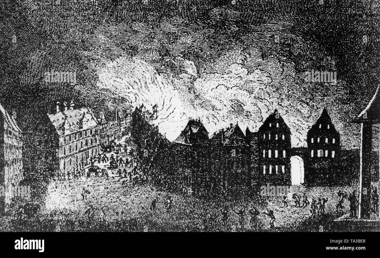 This copper engraving shows the fire in the Judengasse (Jews' Lane) in Frankfurt. The engraving is in the museum in Nuremberg. - Stock Image