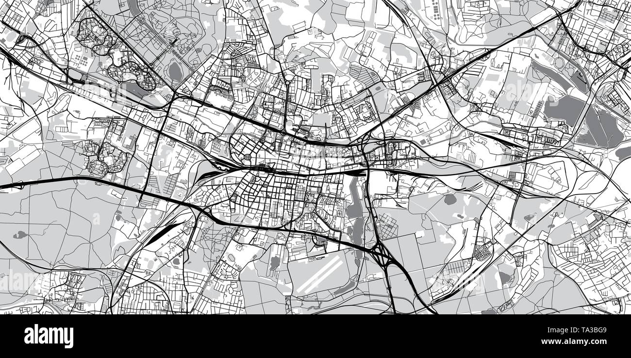 Urban vector city map of Katowice, Poland - Stock Image