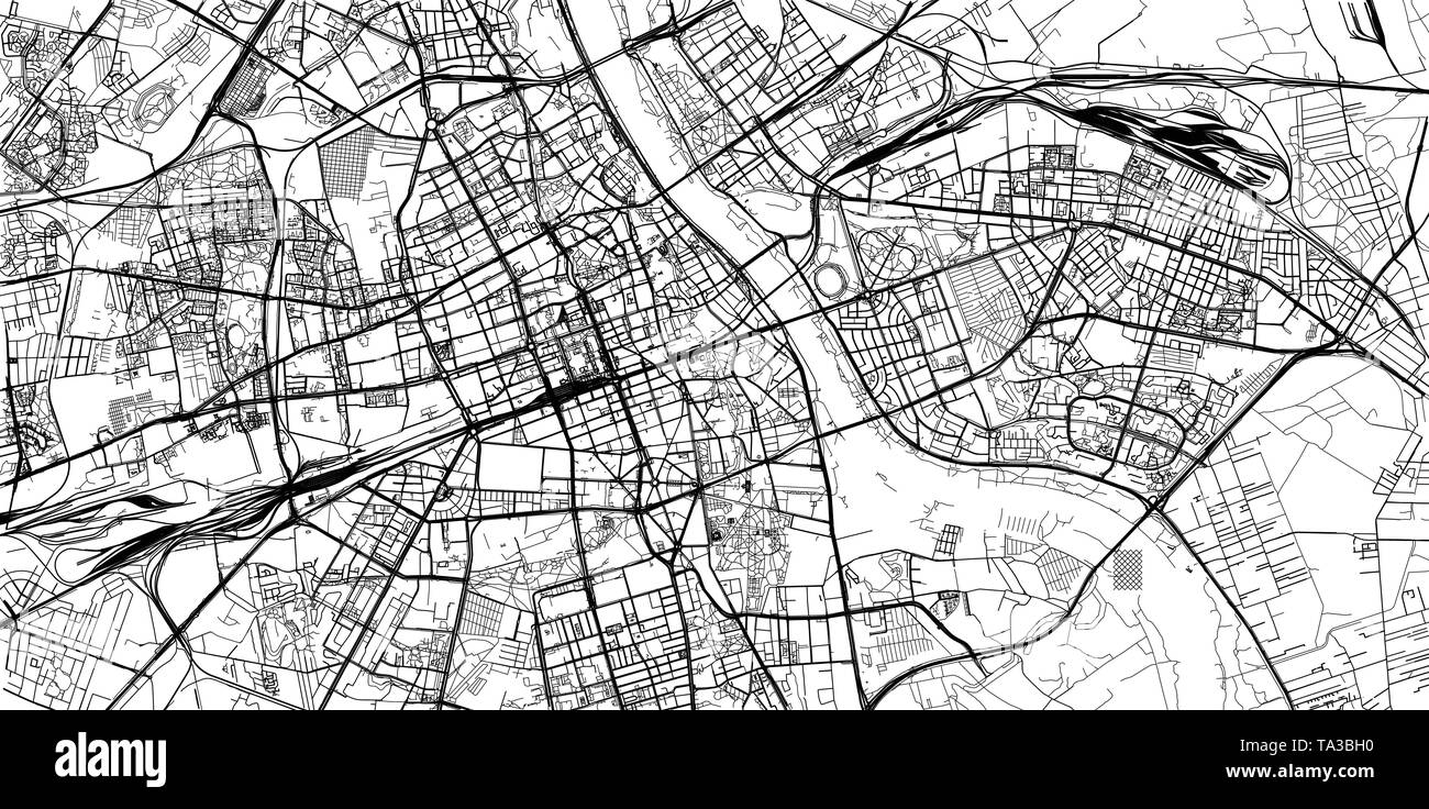 Urban vector city map of Warsaw, Poland - Stock Image
