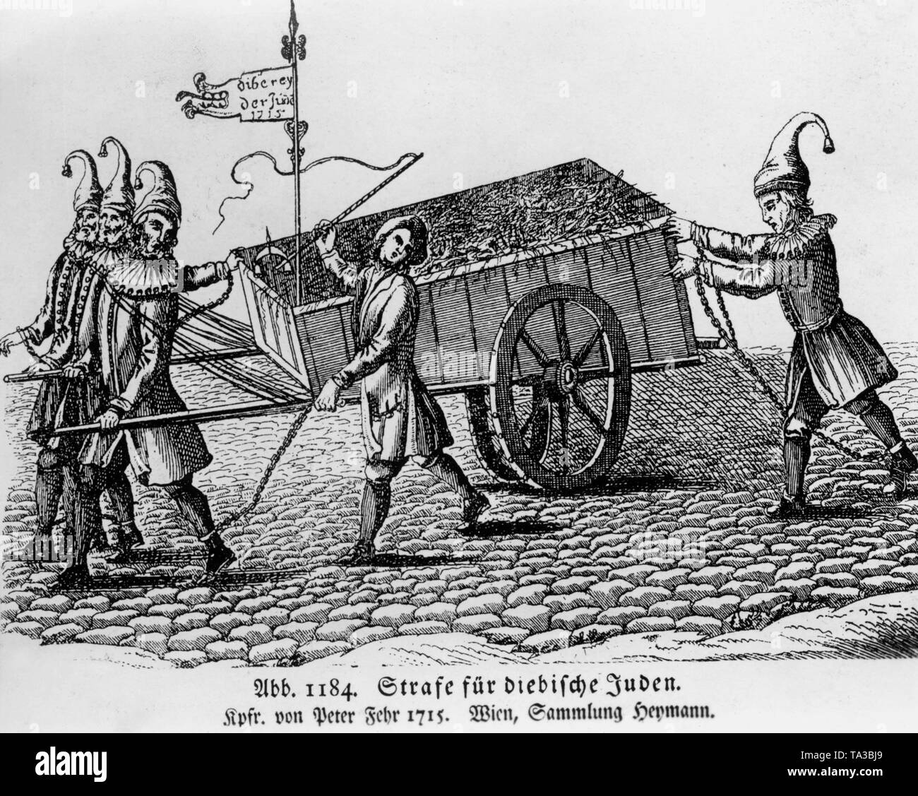 This copper engraving by Peter Fehr shows a punishment for thieving Jews. - Stock Image