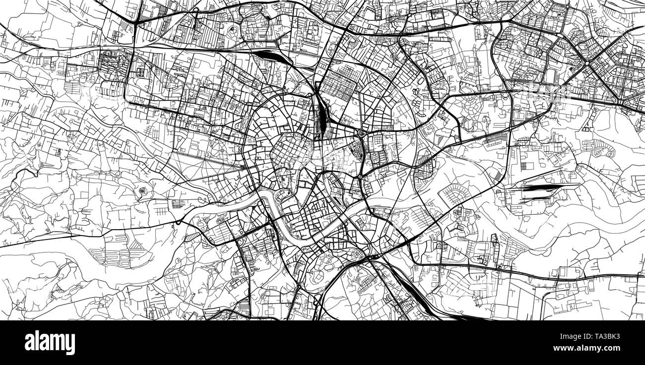 Urban vector city map of Krakow, Poland - Stock Image