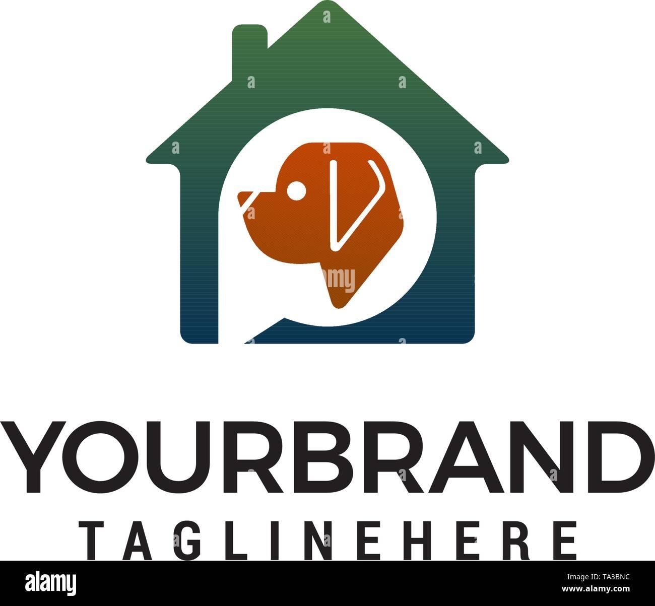 Vector Pet House logo design concept template vector - Stock Image