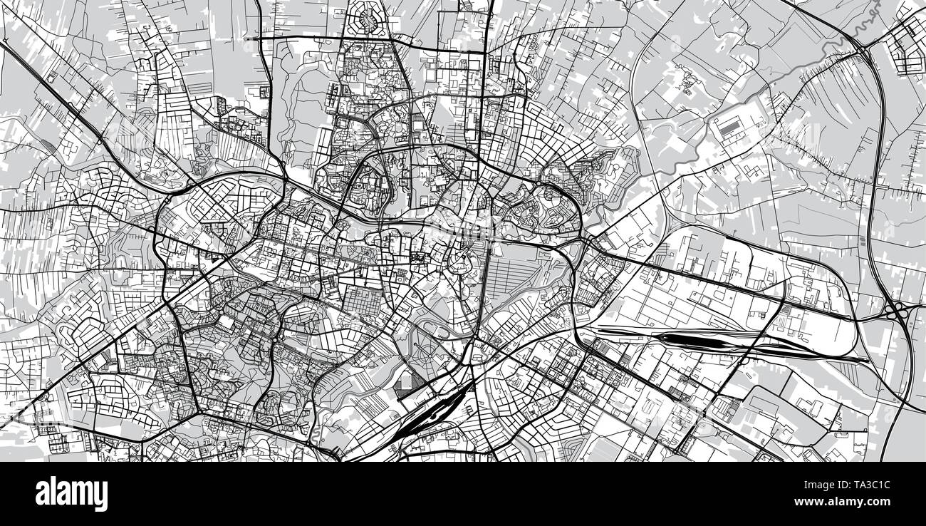 Urban vector city map of Lublin, Poland - Stock Image