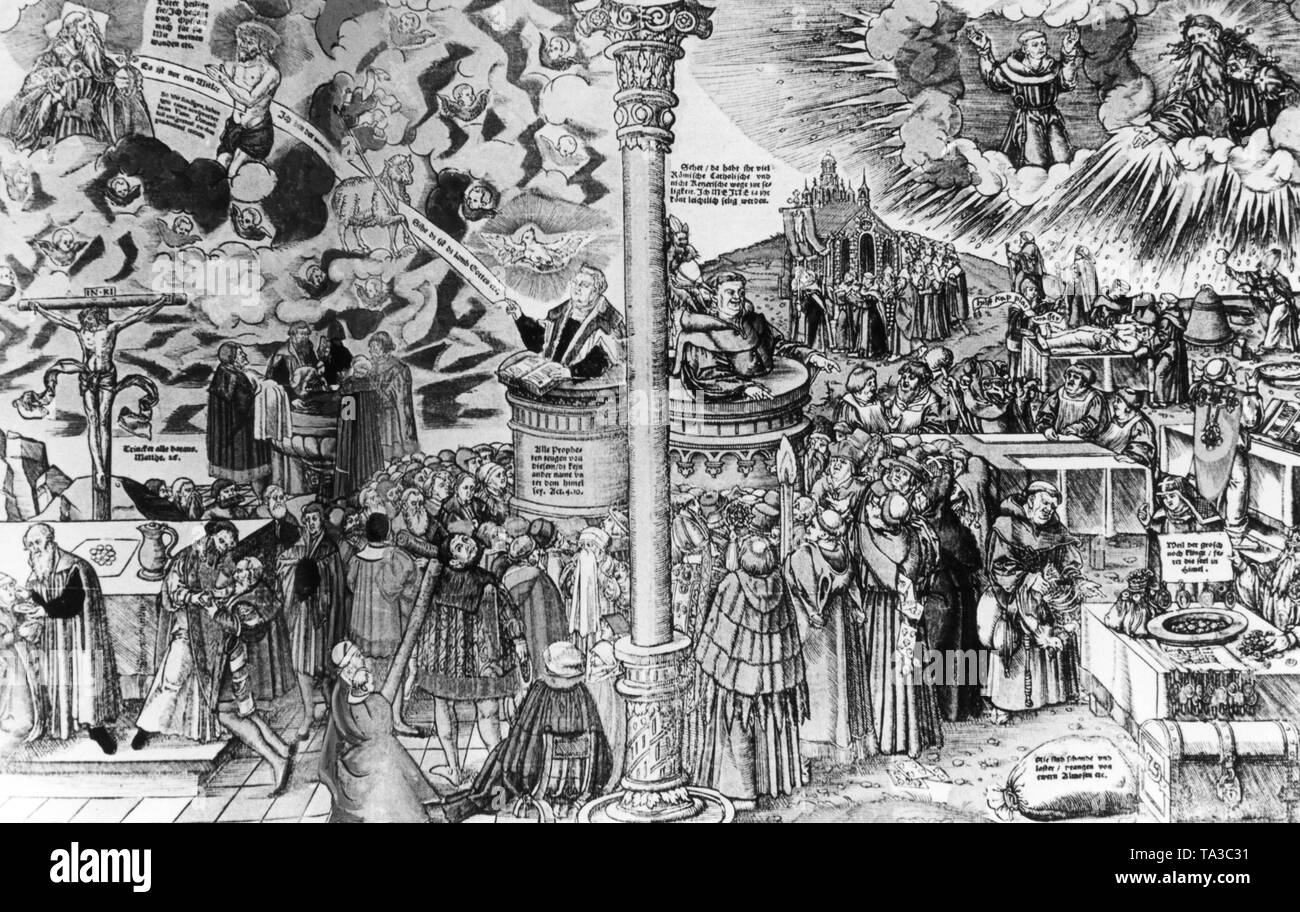 This leaflet was drawn Lucas Cranach the Elder as a pamphlet against the Catholic Church. There is a two-part pulpit. On the left is the preaching Luther, in front of him the opened Bible, on the right is a monk talking to the people below him. On the right in the foreground you can see a scene of indulgence trade. In the background are clouds and two figures associated with the clergy, looking down full of incomprehension on the people who practice indulgence trade. - Stock Image
